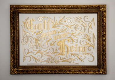 Gold leaf sign-painting for a family heirloom